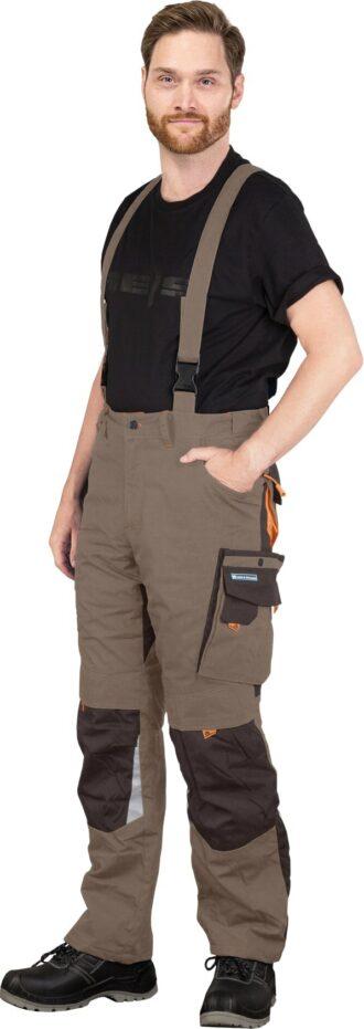 Pracovní kalhoty s laclem NEWAG brown